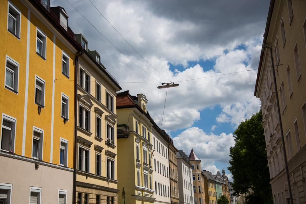Old building in Munich, blue sky